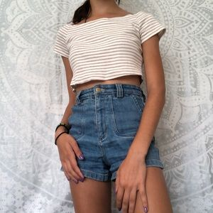 Final Touch Tops - Final Touch Slightly Off the Shoulder Crop Top